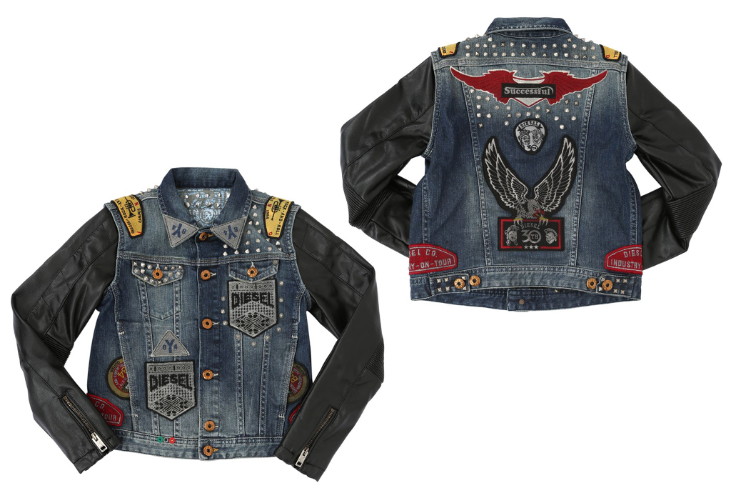 Diesel Kids 30th anniversary tribute collection, boy denim and leather jacket
