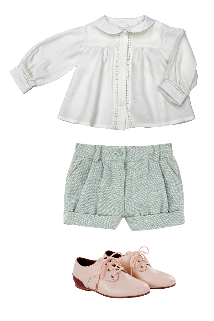Chloé children's wear ivory blouse and shorts