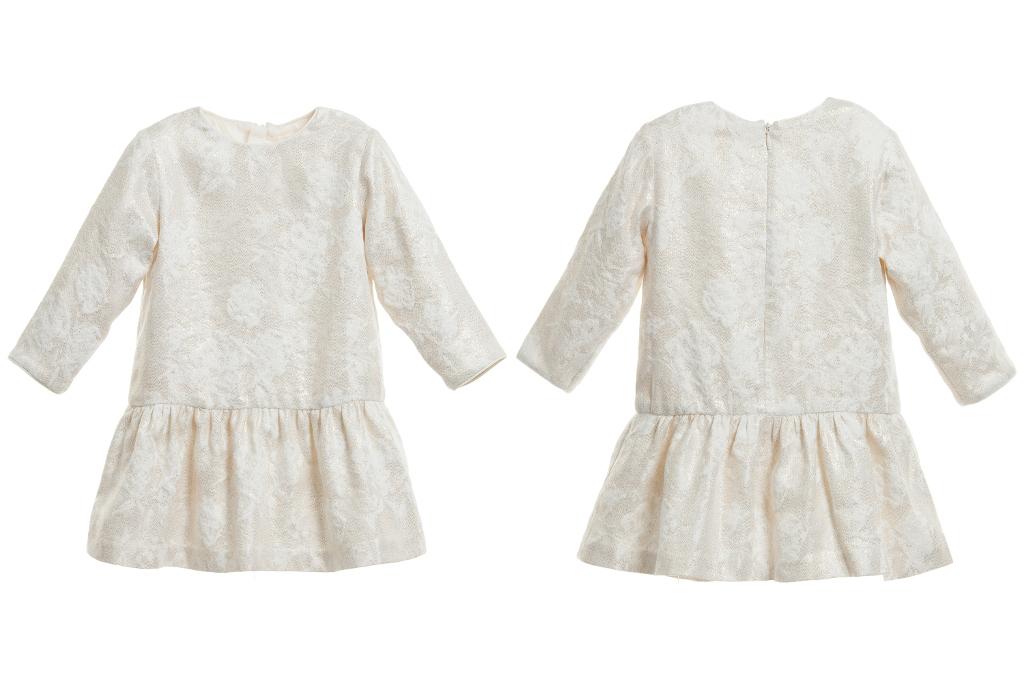 Chloé children's wear winter 2014, ivory dress with gold pattern