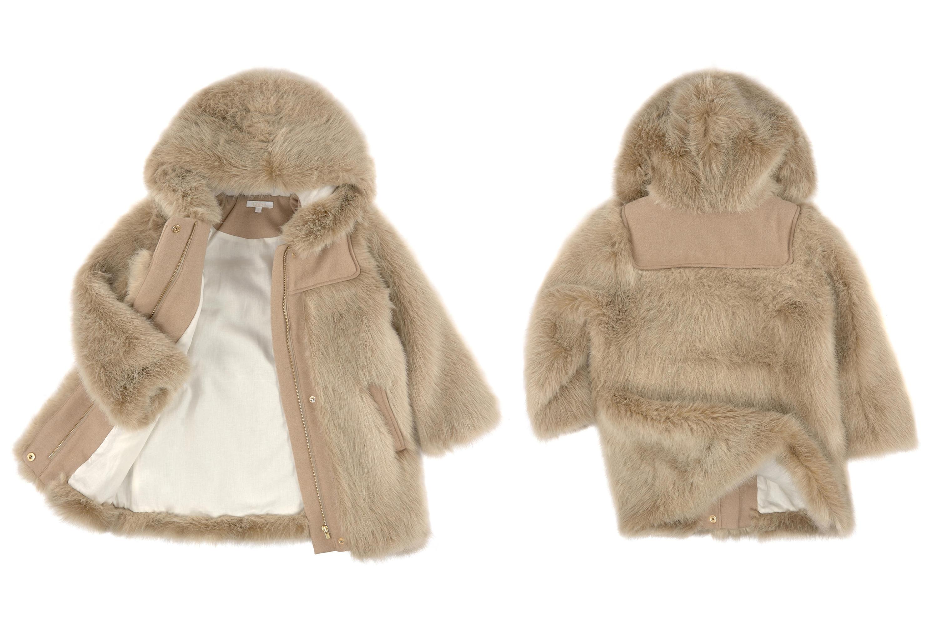 Chloé children's wear winter 2014 syntethic fur coat with hood