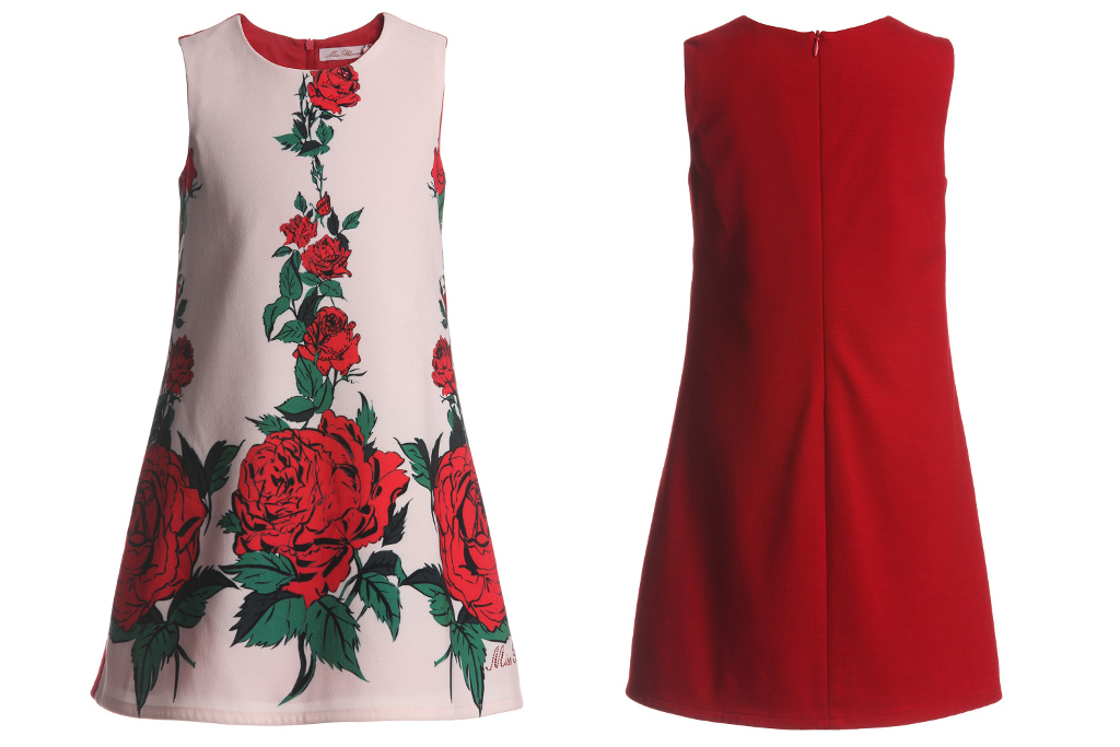 Miss blumarine winter 2014, sleeveless dress with red roses