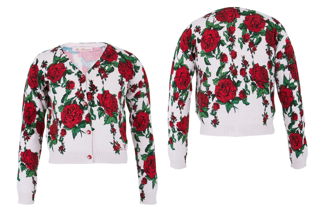 Miss blumarine winter 2014, cardigan with red roses