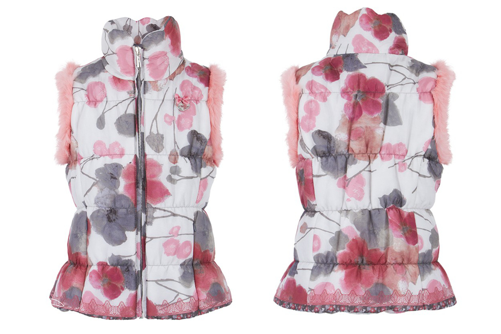 Miss blumarine winter 2014, gilet with pink and grey flowers