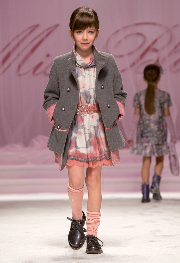 Miss Blumarine winter 2014, dress with pink and grey floral print