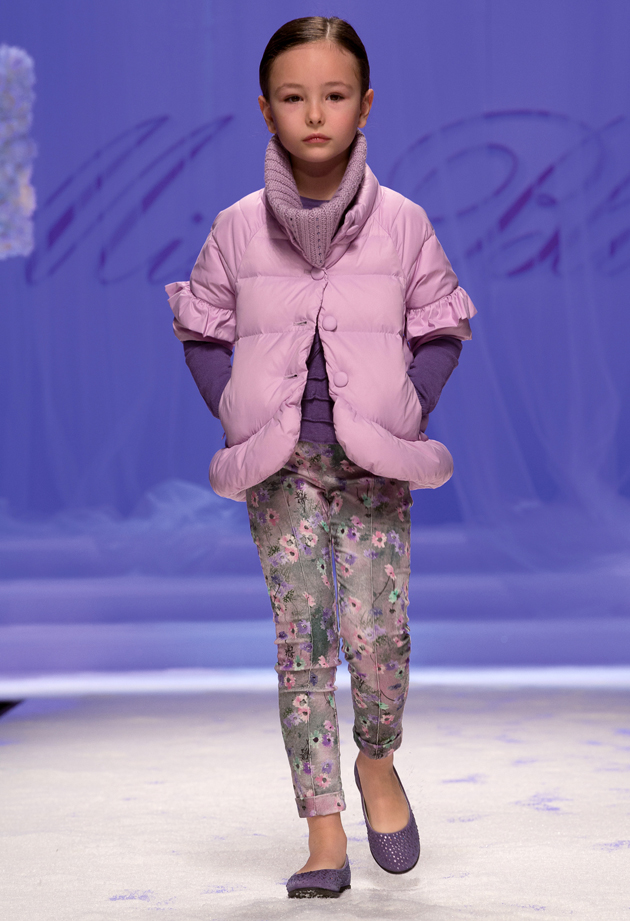 Miss Blumarine winter 2014 trousers with lillac and purple wild flowers