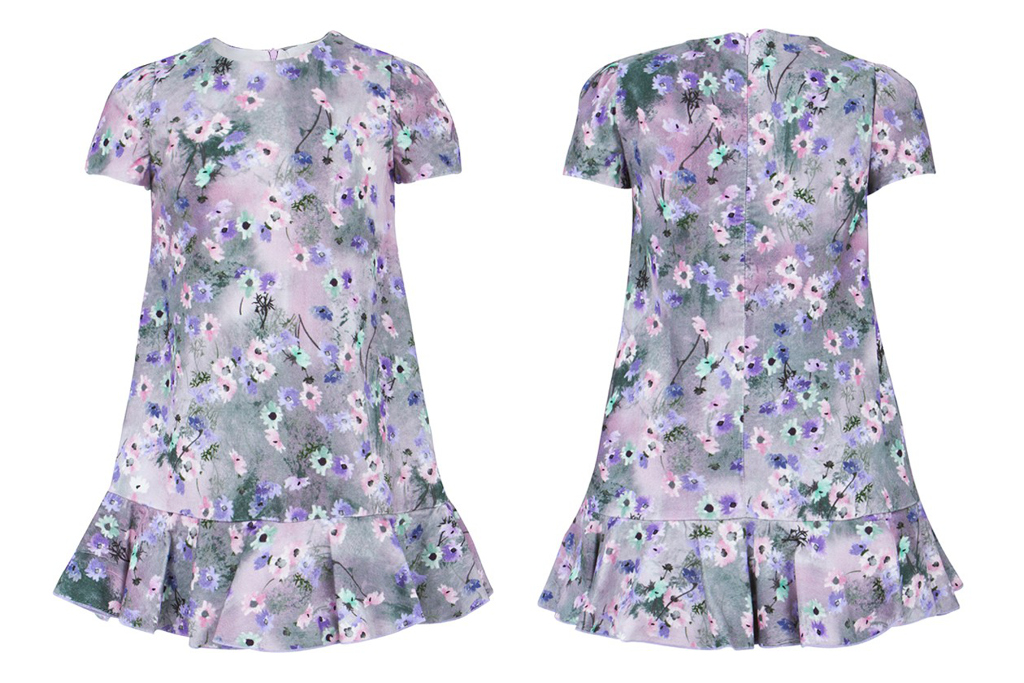 Miss Blumarine winter 2014 dress with lillac and purple floral print