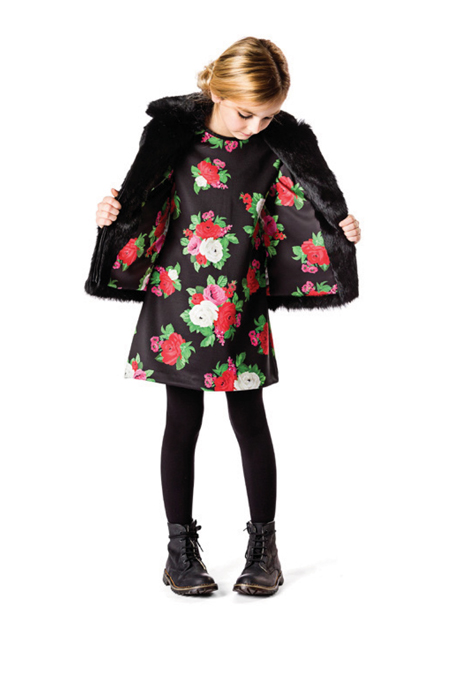 MSGM Kids floral fur and dress