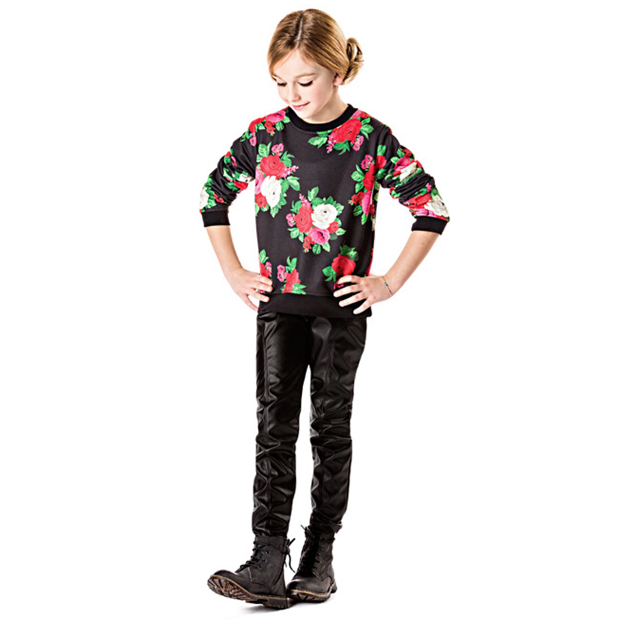 MSGM Kids black flower sweater and trousers