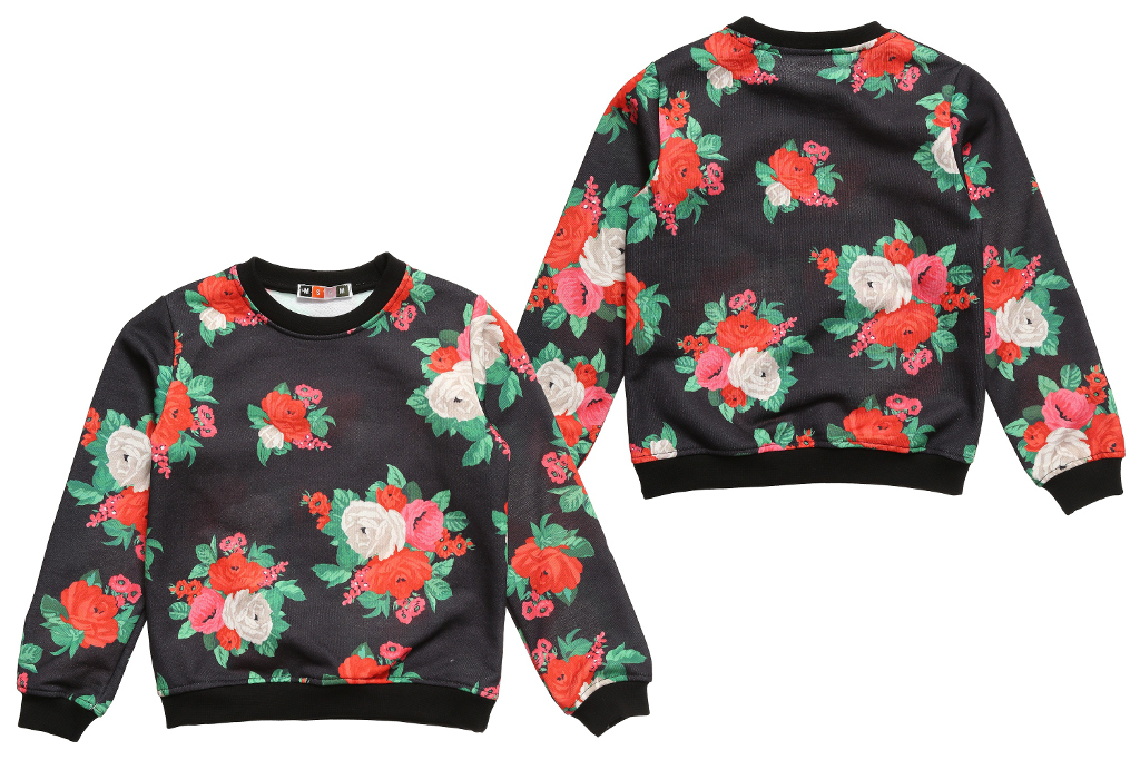 MSGM Kids winter 2014, black sweatshirt with flowers