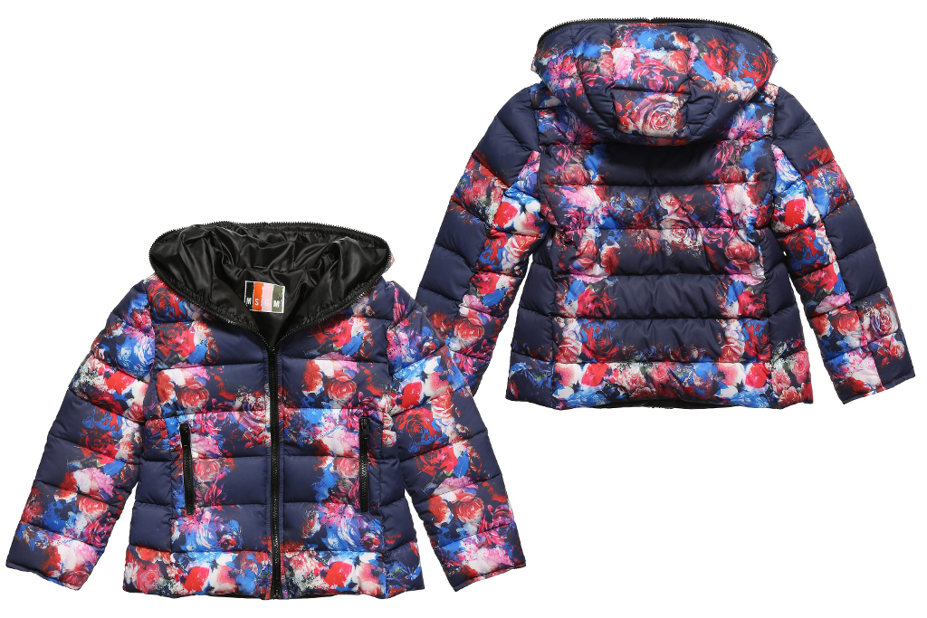MSGM Kids winter 2014, navy blue jacket with flowers