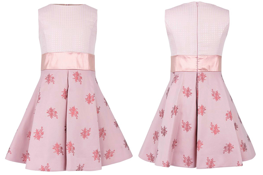 Simonetta winter 2014, pink sleeveless dress with roses
