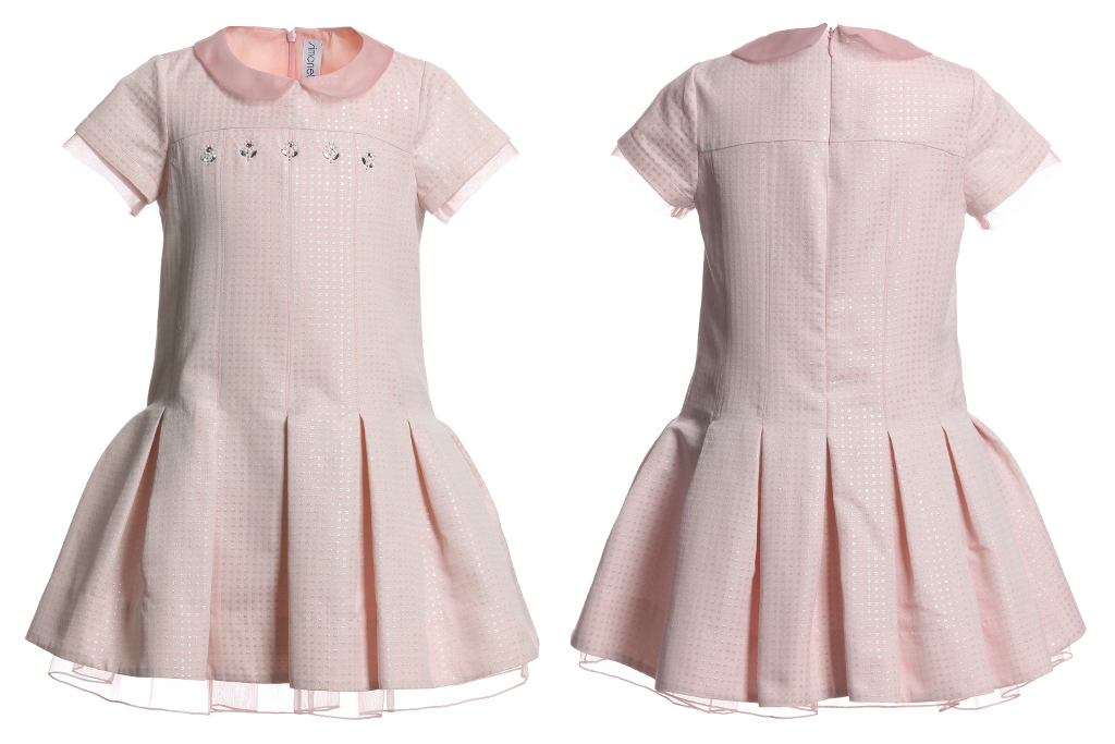 Simonetta winter 2014, pink short sleeves dress with flowers on the chest