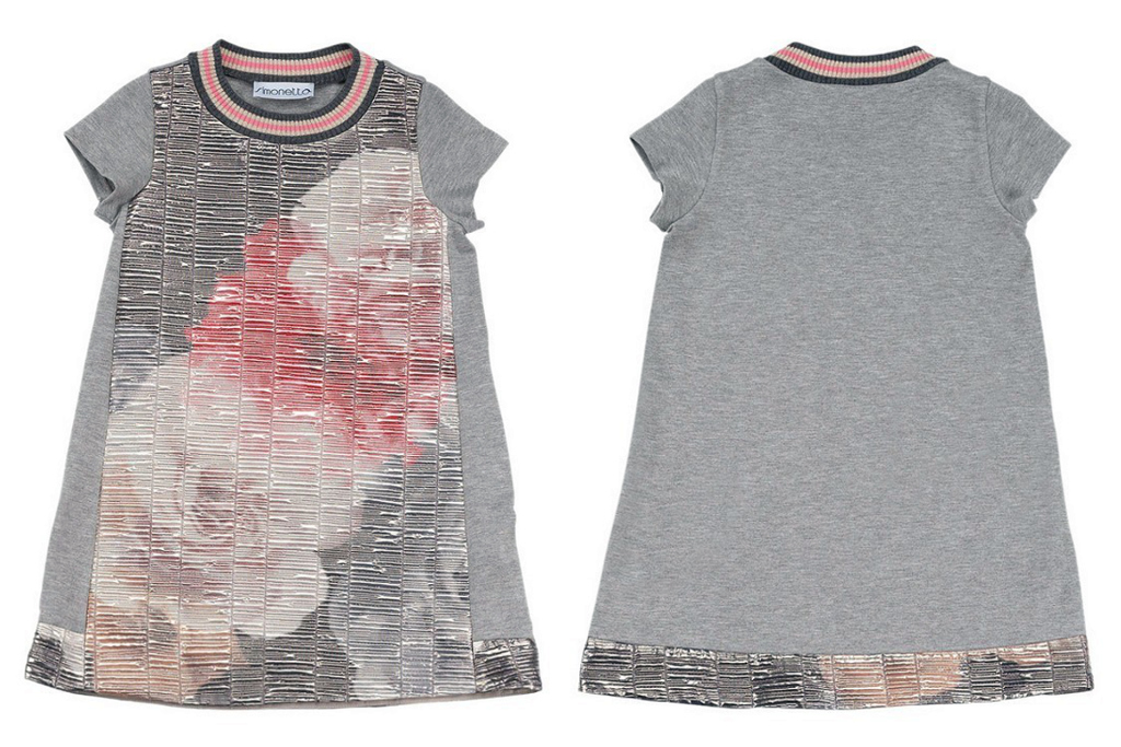 Simonetta winter 2014, grey short sleeves dress with pink flowers