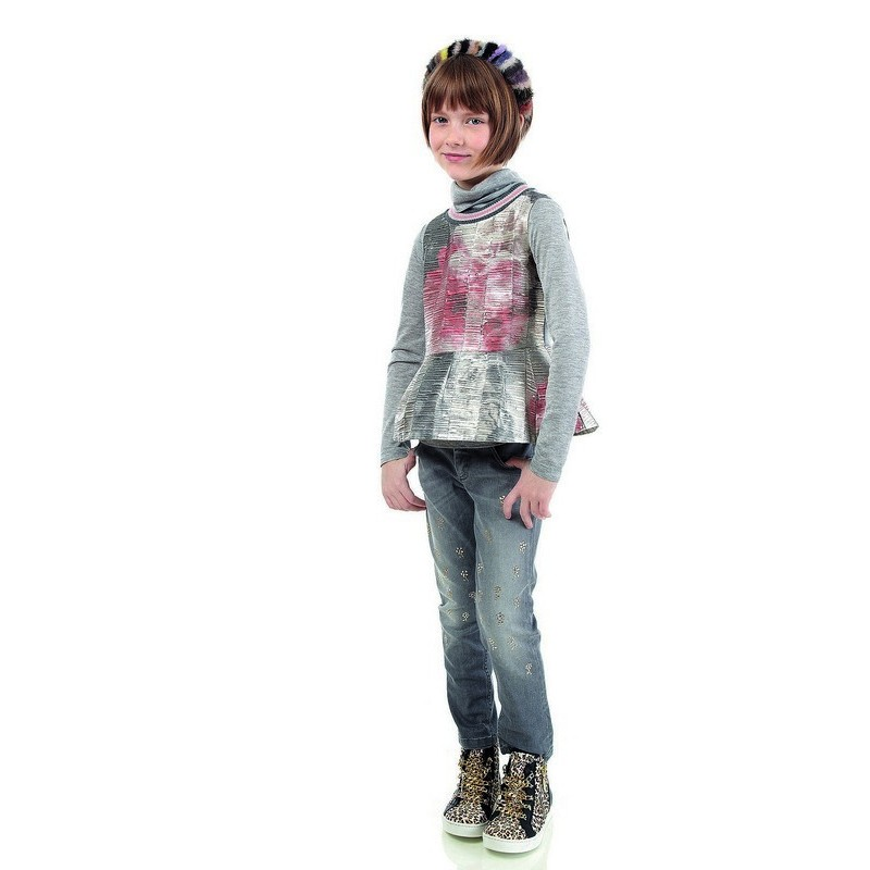 Simonetta winter 2014, grey metallic tunic with pink flowers