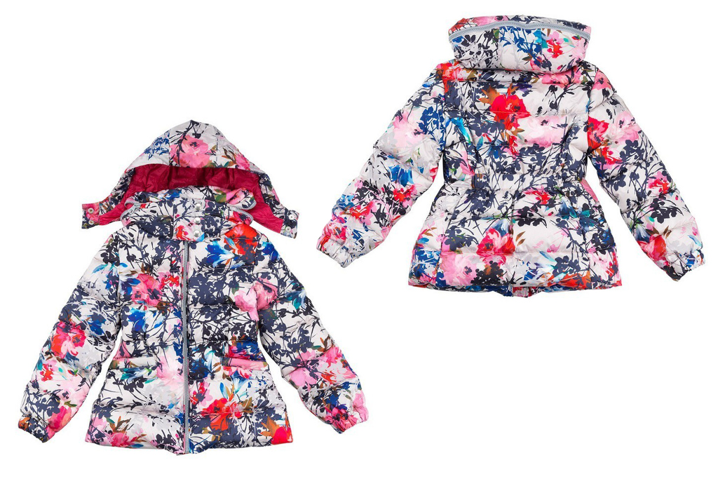 Simonetta winter 2014, bright floral printed down jacket