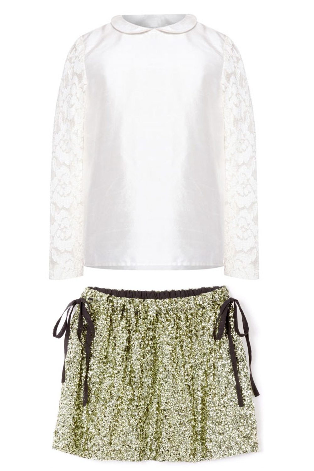 Shan and toad winter 2014, white blouse with bronze sequins skirt