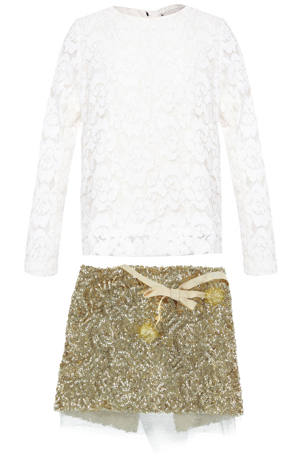Shan and Toad winter 2014, white blouse with gold sequins skirt
