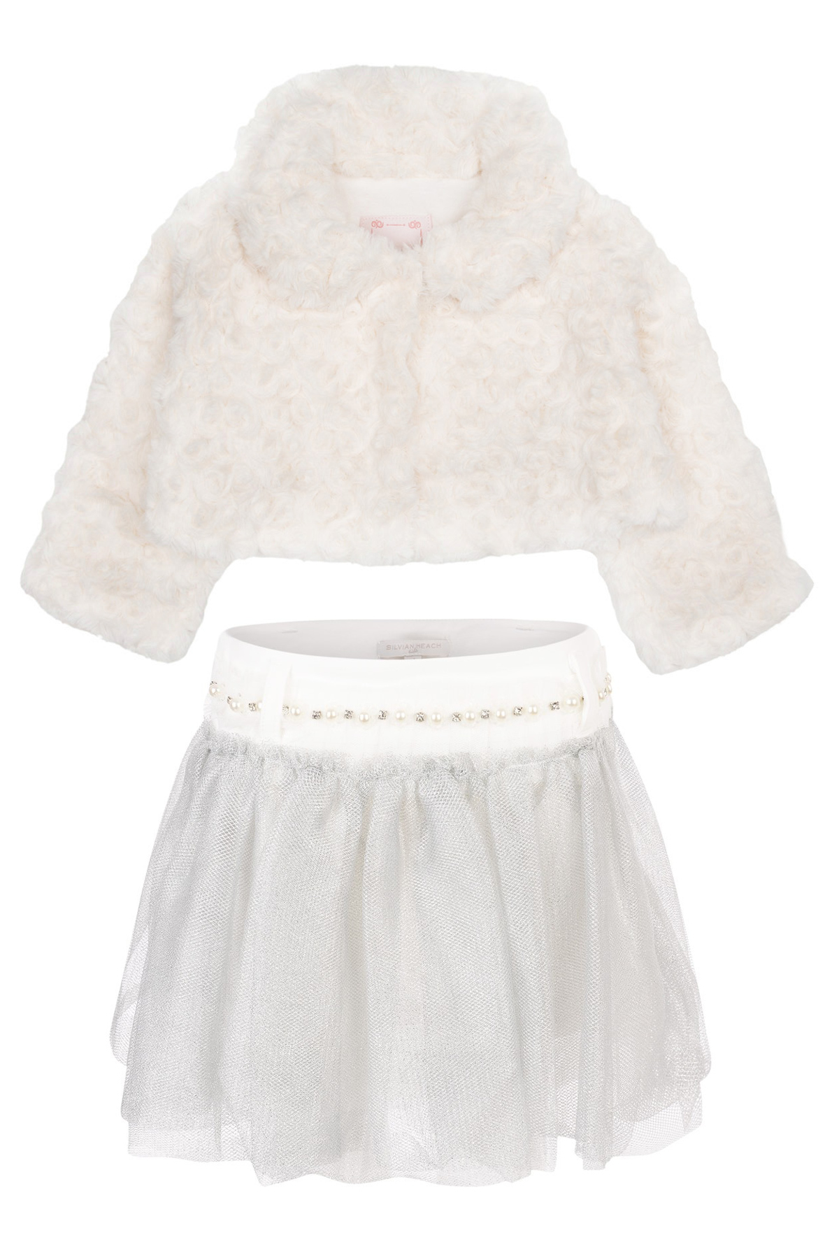 Silvian Heach Kids winter 2014 white fur and grey tulle skirt