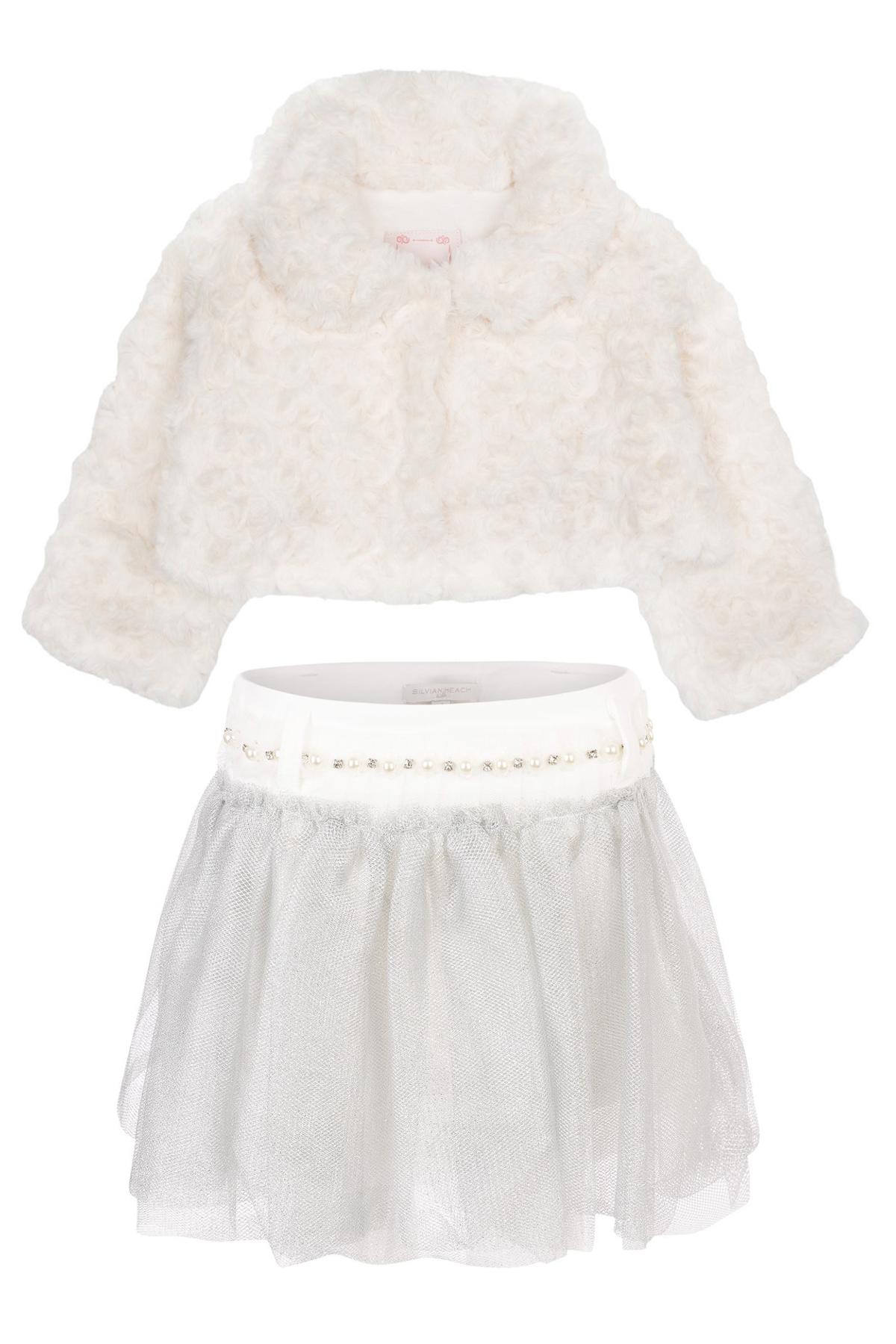 Silvian Heach Kids winter 2014 white fur and grey tulle skirt