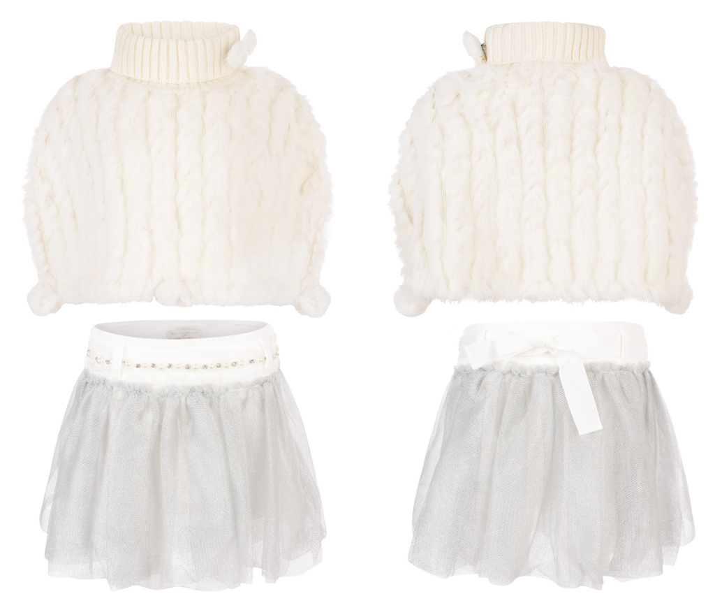 Silvian Heach Kids winter 2014 ivory cape fur with grey tulle skirt