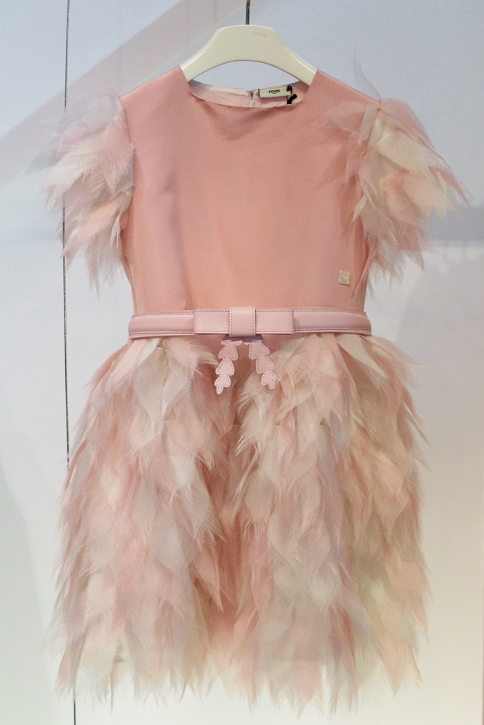 Fendi Kids, winter 2015 light pink party dress