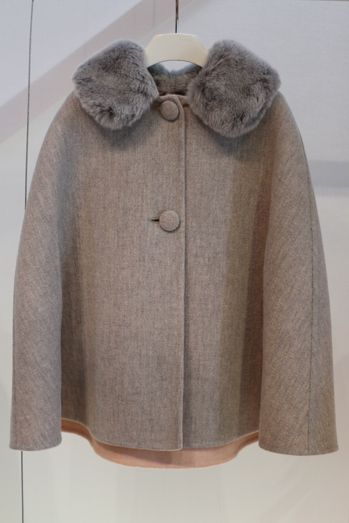 Fendi Kids, winter 2015 grey mantel with fur collar