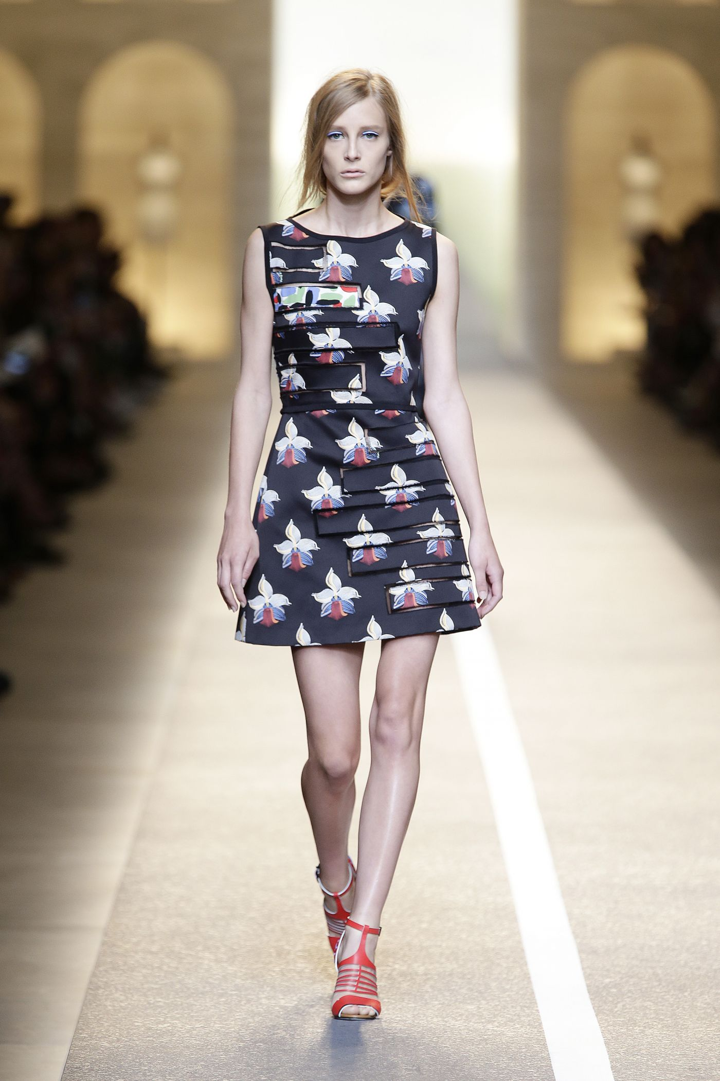 Fendi spring summer 2015 orchid motif outfit