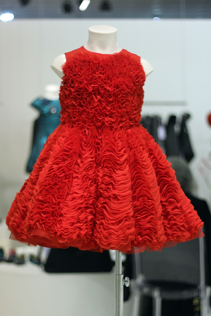 Quis quis winter 2015 red silk and tulle dress