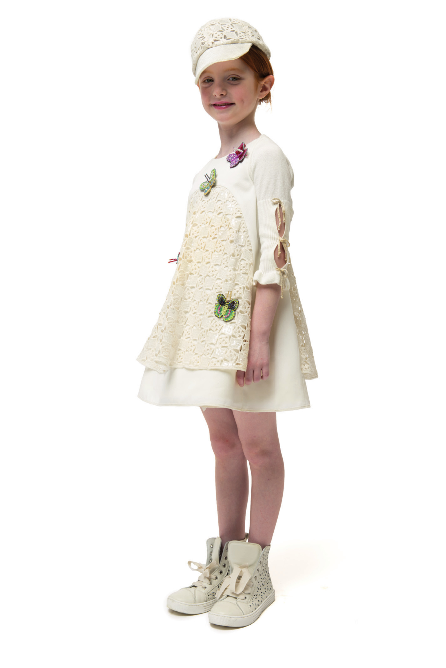 I Pinco Pallino spring 2015, ivory dress with butterflies