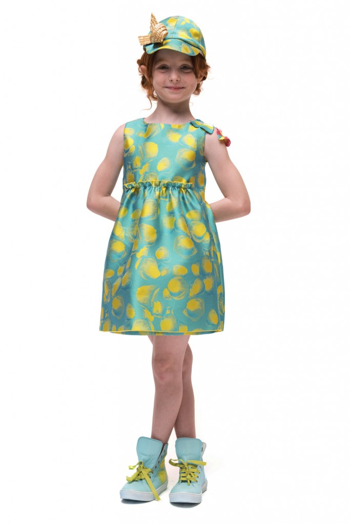 I Pinco Pallino spring 2015, turquoise sleeveless couture dress with yellow petals