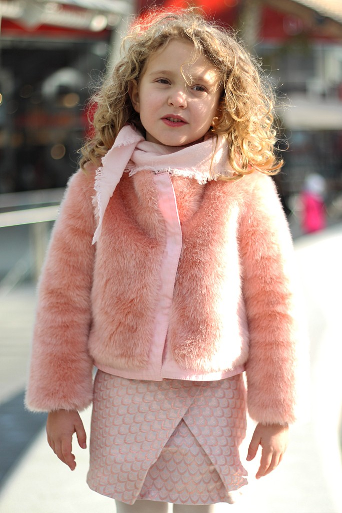 kenzo kids pink fur and matching skirt