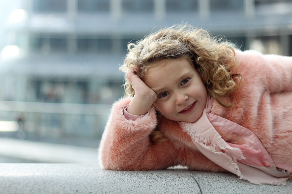 kenzo kids pink look with zara kids gold ballerina