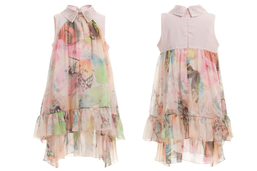 Miss Blumarine silk chiffon pale pink short dress