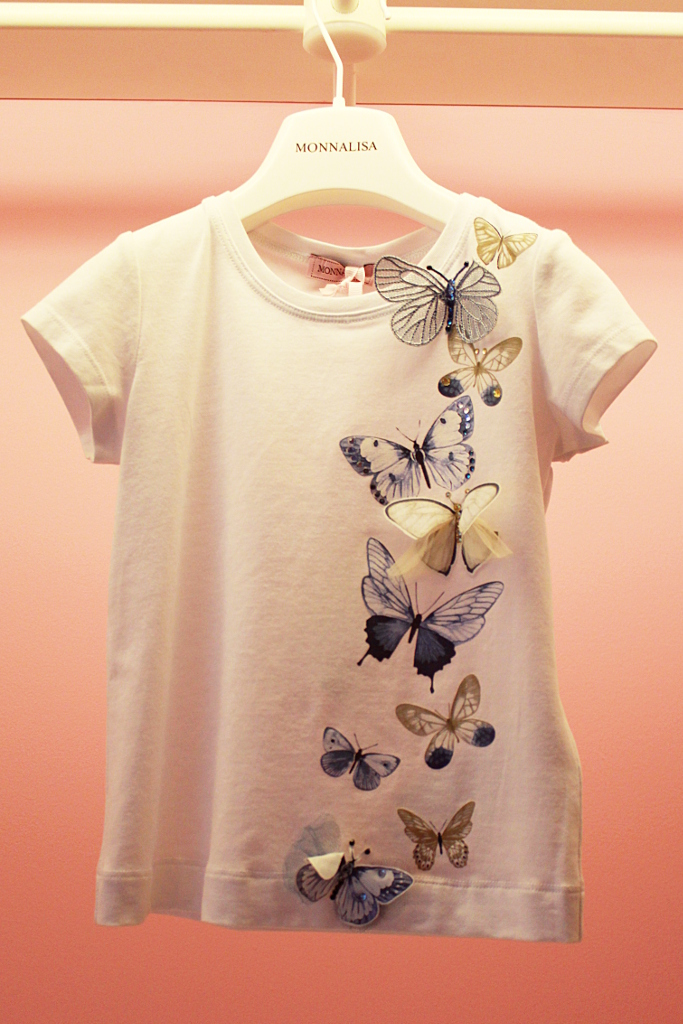 Monnalisa spring 2015, white t-shirt with butterflies