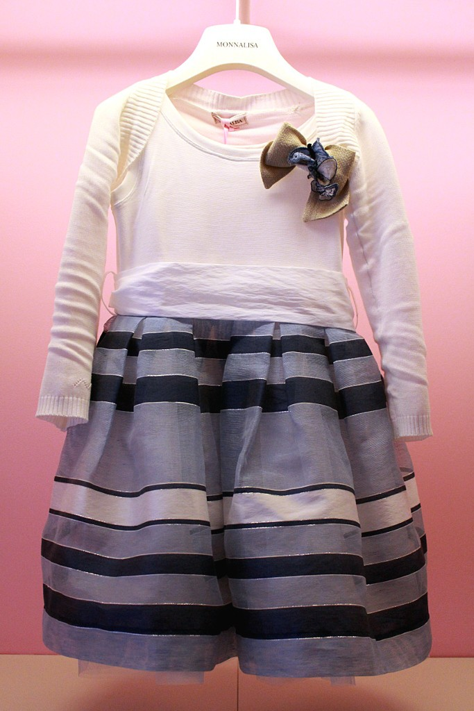 Monnalisa white sleeveless dress wth a steel blue skirt