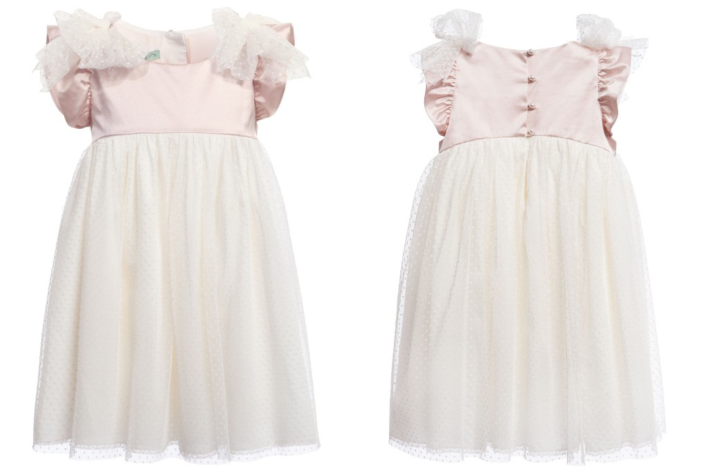Nanos spring 2015 ruffled sleeved ivory and ligh pink dress