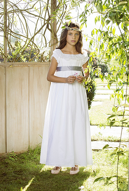 Nanos white long dress conceived for special occasion
