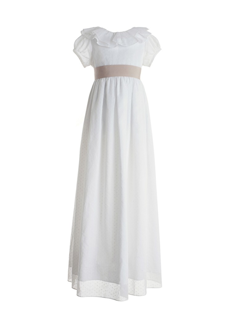 Nanos stunning short sleeved long white dress