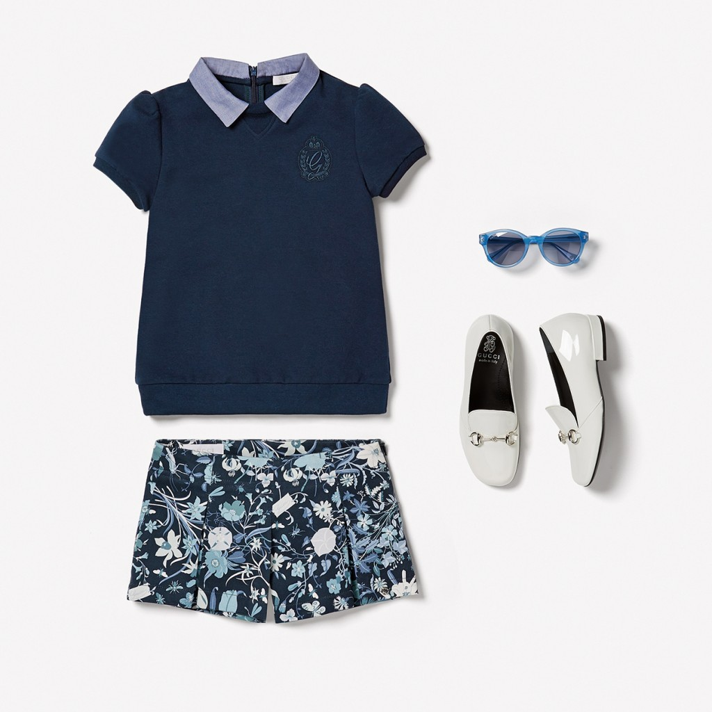 Gucci kids spring 2015 blue sweatshirt with floral shorts