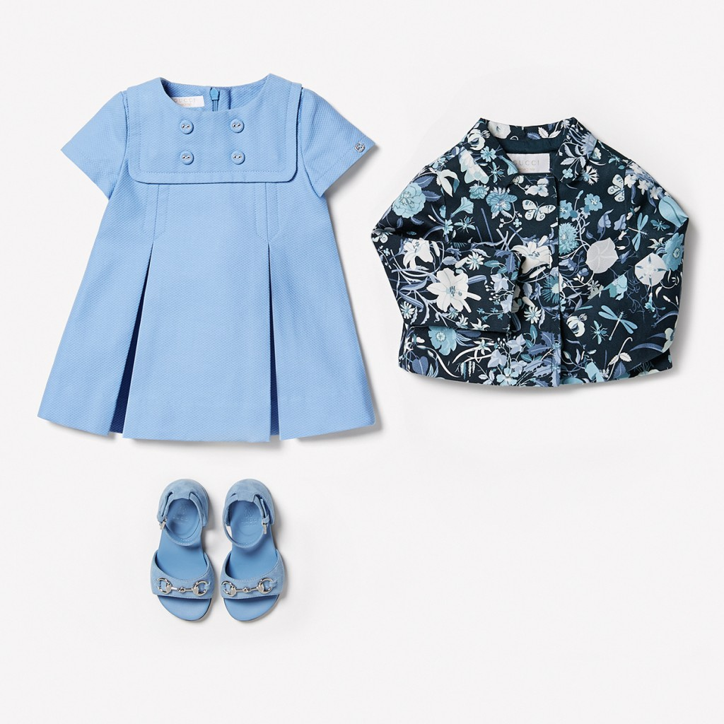Gucci kids spring 2015 sky-blue cotton dress