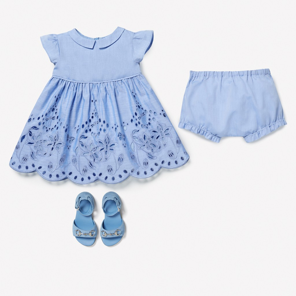 Gucci kids spring 2015, baby girl's sky-blue dress