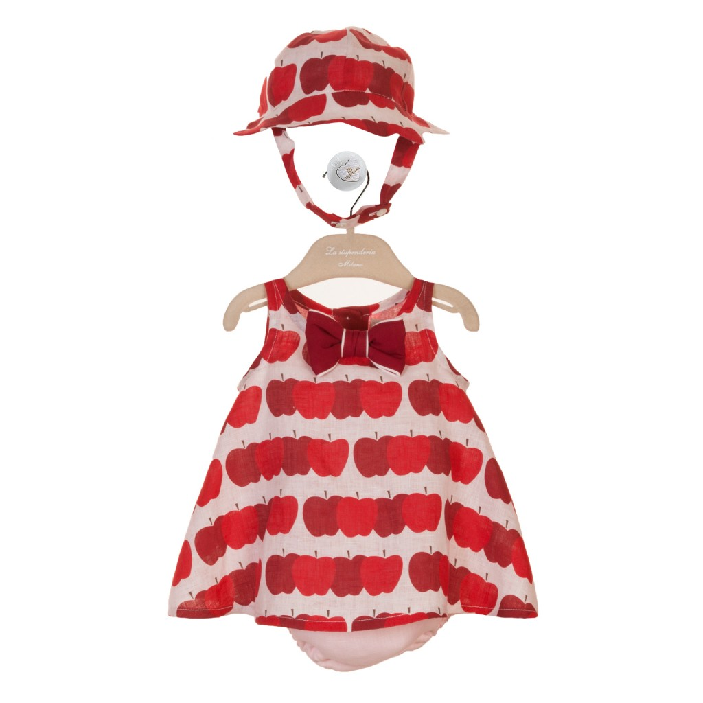 La Stupenderia red apple print baby dress spring 2015