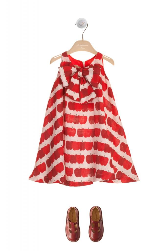 La Stupenderia girls red apples print sleeveless dress