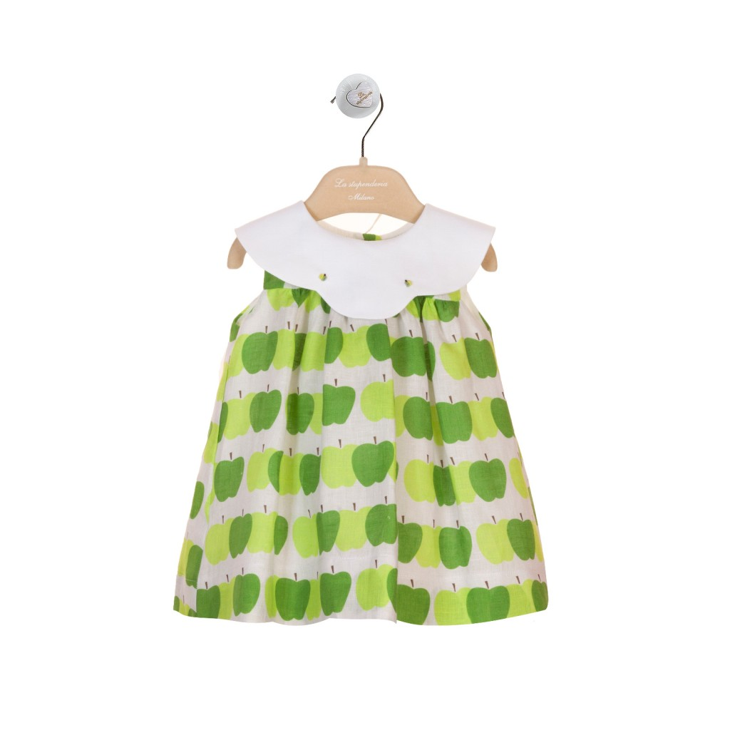 La Stupenderia green apple print baby dress spring 2015