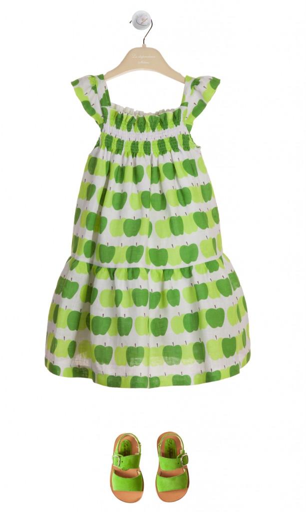 La Stupenderia green apple print girl dress spring 2015