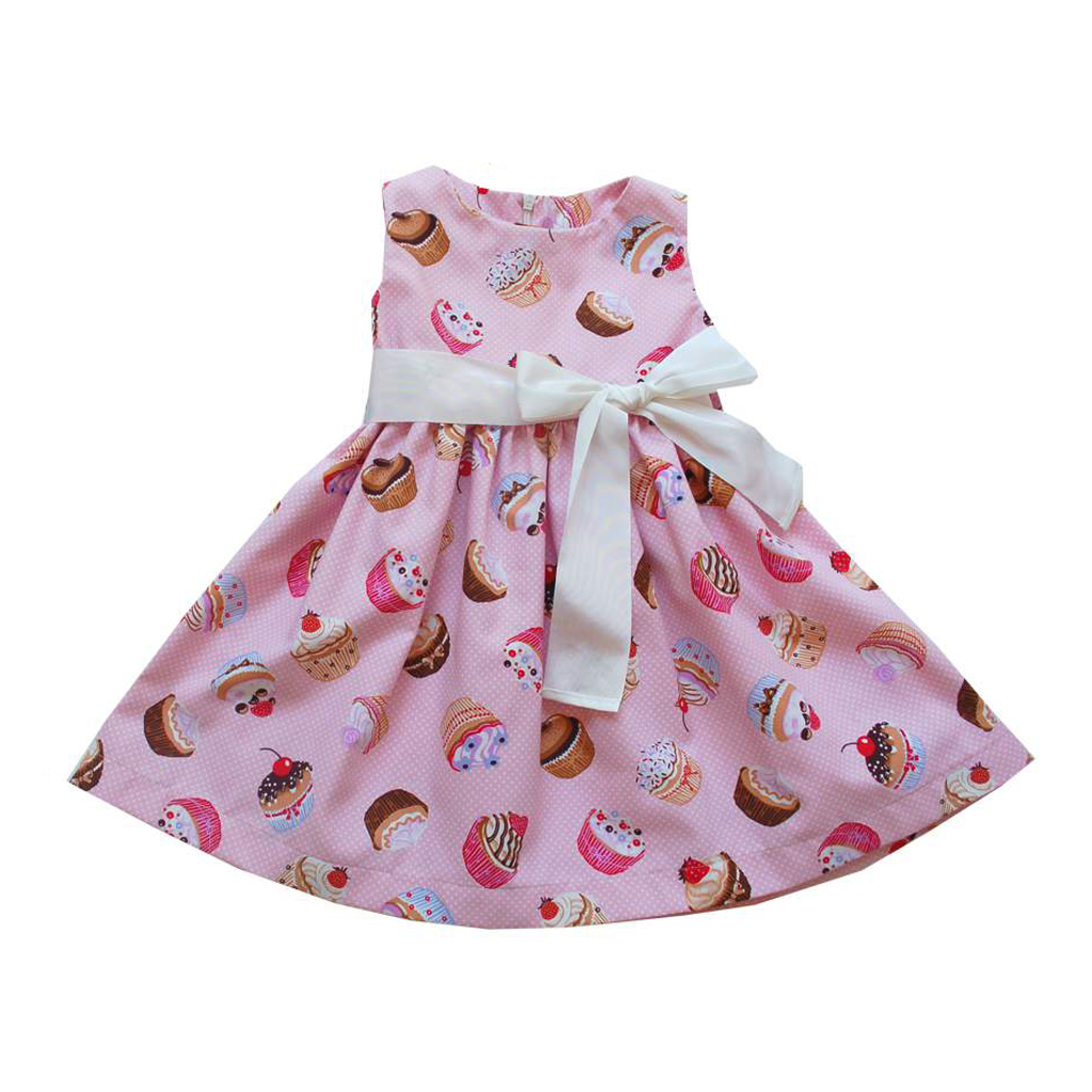 Magil sleeveless pink dress with cupcakes print