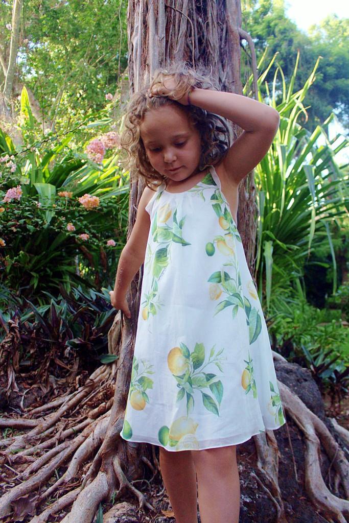 roberto cavalli junior white dress with citrus print