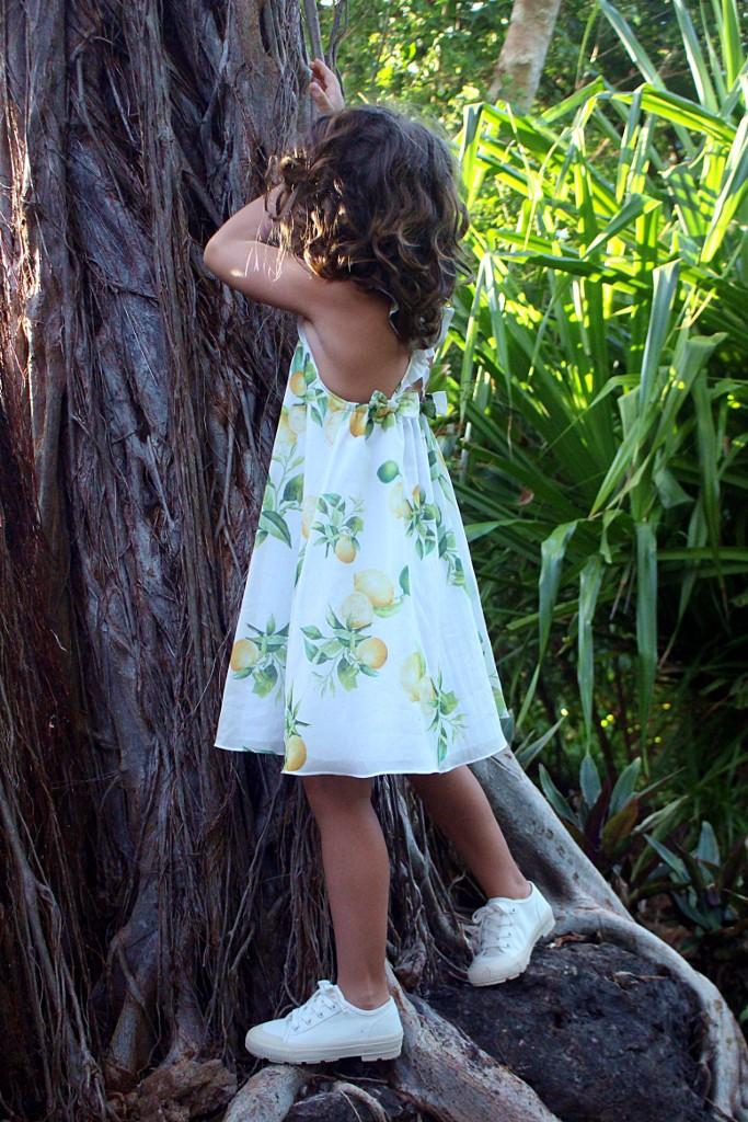 roberto cavalli junior white dress with yellow lemons