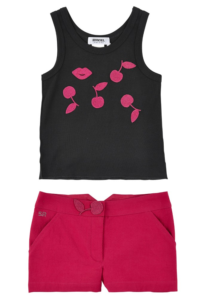 Rykiel Enfant black tank top and pink shorts with cherries