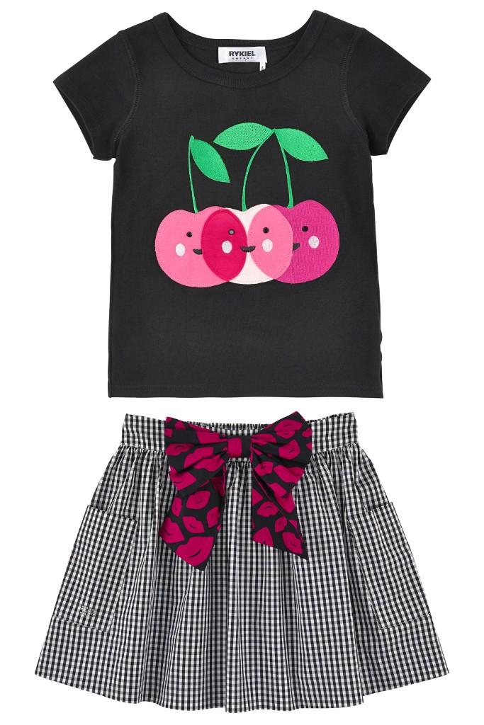 Rykiel Enfant cherry line t-shirt and skirt